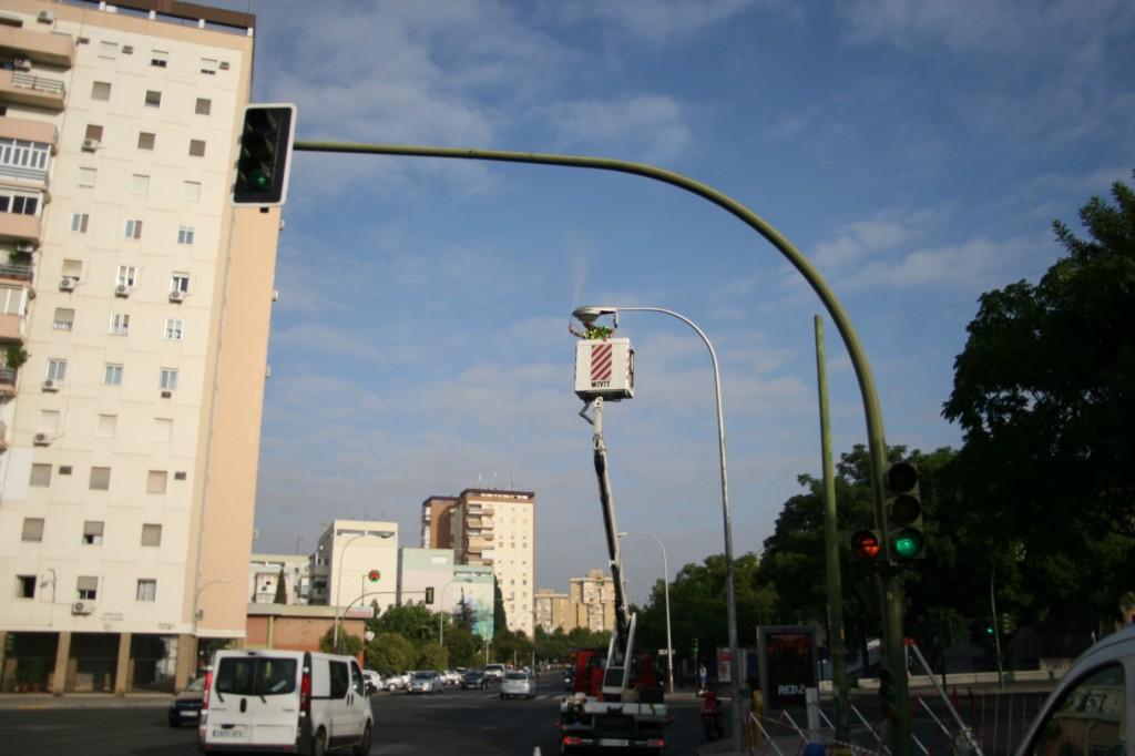 Los operarios trabajan a diez metros de altura