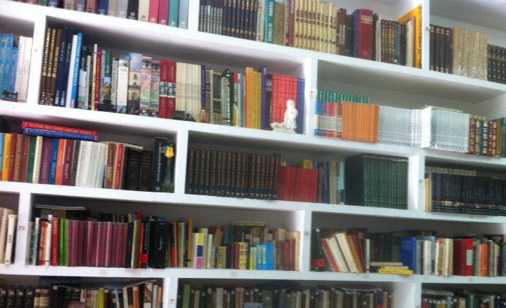 Una de las estanterias de libros de la Asociación de vecinos Santa Genoveva-Tiro de Línea