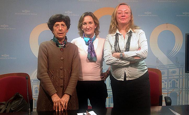 Esther Ferrer, María del Mar Sánchez Estrella y María Aizpuru