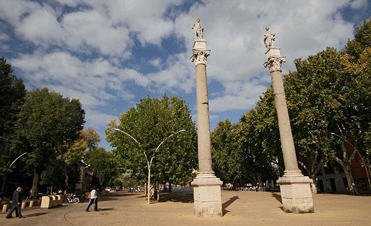 Zona arbolada de la Alameda de Hércules