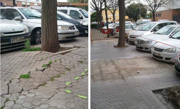 Antes y después del acerado de la calle Beatriz de Suabia