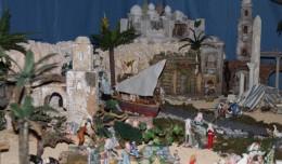 Una parte del Belén de Jesús Ors, en ella se puede ver a los pescadores, un barco y la escena de la huída a Egipto