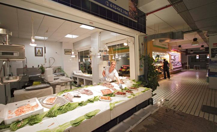 Una pescadería del mercado de Bellavista