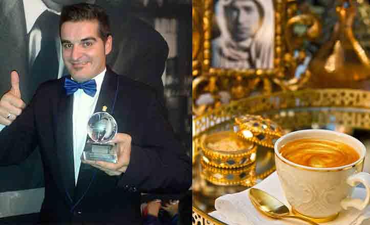Antonio Ojeda con su cóctel Lawrence de Arabia.