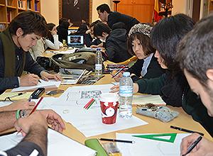 Los estudiantes japoneses en el Ateneo.