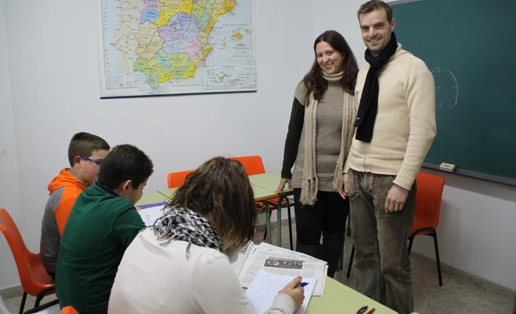Fernando y Cristina en una de sus clases