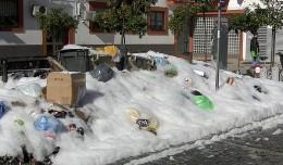 Espuma en los contenedores de basura de la Plaza del Cronista