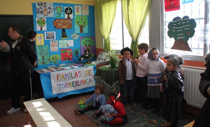 Los niños de infantil disfrazados de una familia de Torreblanca durante la celebración del día de Andalucía