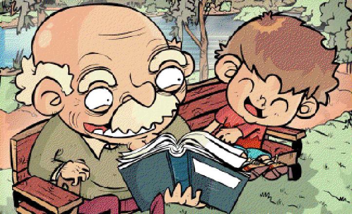 Una viñeta utilizada para anunciar esta iniciativa. En ella, un abuelo y un niño leen en un banco de un parque