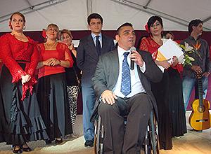 Juan García Camacho y Beltrán Pérez en la clausura de los talleres del Distrito Norte.