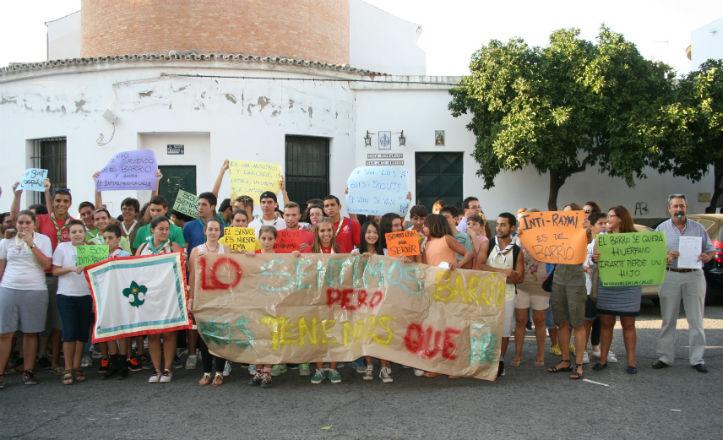El grupo scout Inti-Raymi durante la manifestación
