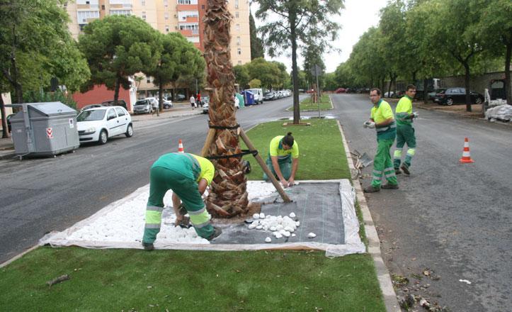 Ultiman los arreglos en la mediana de la calle Tarso