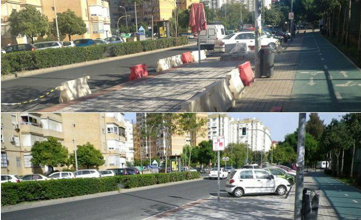 Antes y después de la parada de autobús