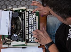 Detalle de una máquina de escribir