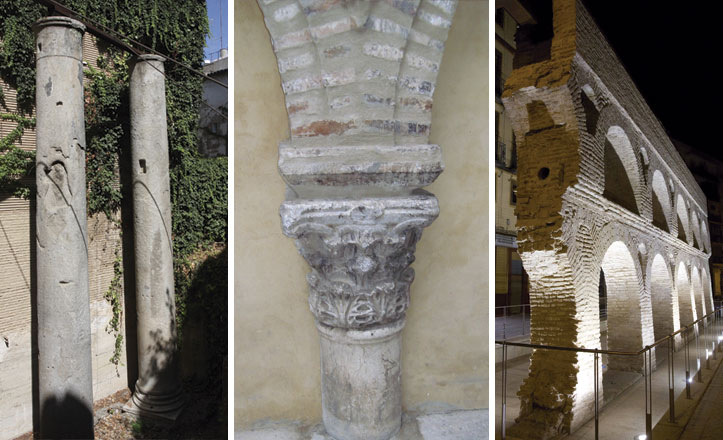 Las columnas de la calle Mármoles, una columna del Salvador y los Caños de Carmona.