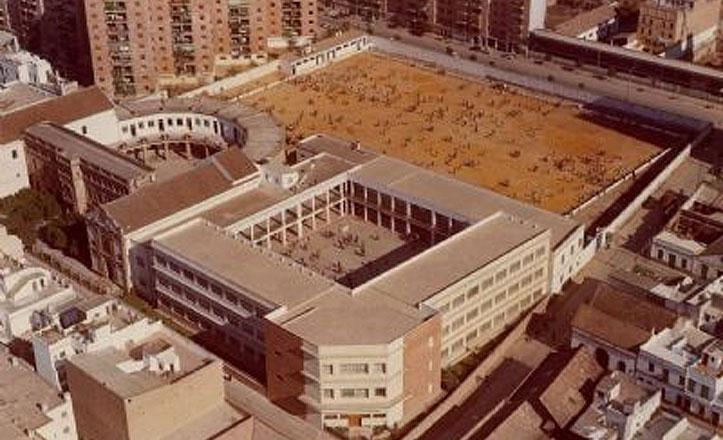 Bendición del campo de fútbol en el año 1963, donde aparece, entre otras personalidades, Benito Villamarín