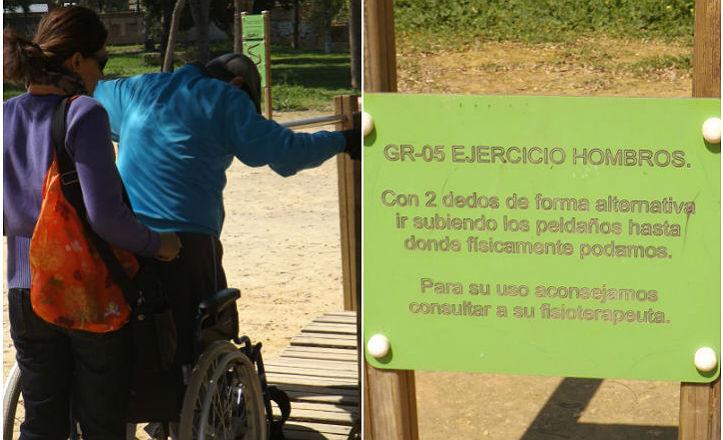 Vecino haciendo ejercicios de rehabilitación