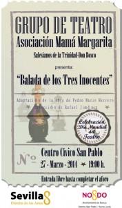 Cartel de la obra «Balada de los tres inocentes» en la versión de la Asociación Mamá Margarita