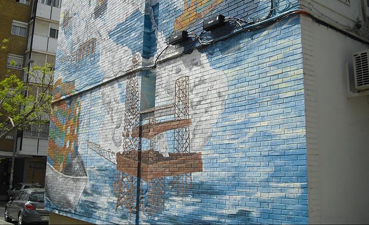 Cableado sobre el mural de «Arte para todos»