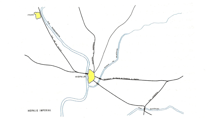Mapa de vías romanas que circundaban Sevilla