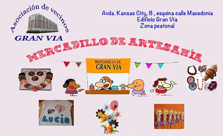 Cartel del mercadillo de artesanía Gran Vía.
