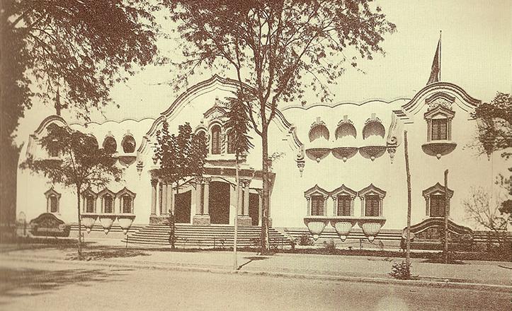 Fachada del Pabellón de Brasil poco antes de la inauguración
