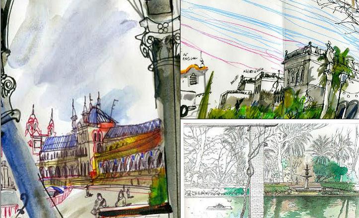 Dibujos de la edición especial del libro del Parque María Luisa