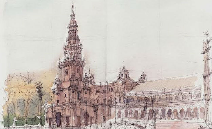 Dibujo de la Plaza de España para la edición del libro del Parque María Luisa