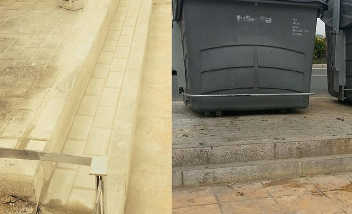 A la izquierda, acceso actual a los contenedores. A la derecha, estado anterior a las obras