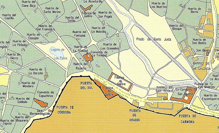 Plano de Sevilla hacia 1850, donde se aprecia la laguna de los patos / Carlos Romero Moragas