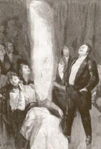 Grabado del siglo XIX sobre una sesión espiritista