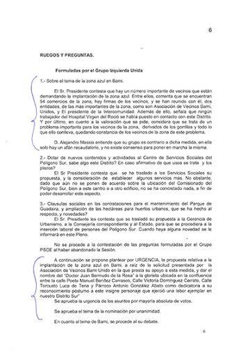 Acta Junta Municipal Distrito Sur