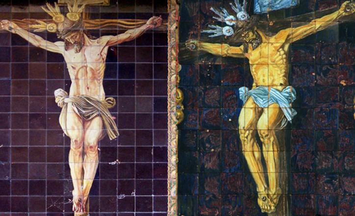 A la izquierda, el azulejo que figura en la Magdalena en la actualidad. A la derecha, la pieza original