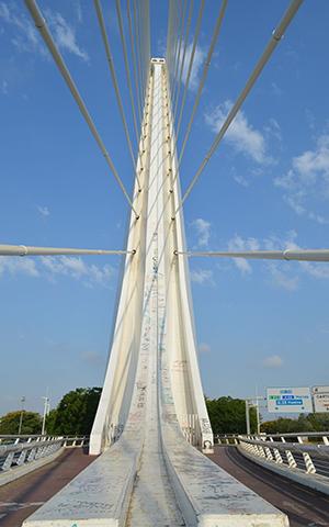 Detalle del puente del Alamillo, que cumple 22 años