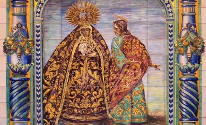 Este es el único retablo en el que la Virgen aparece junto a San Juan
