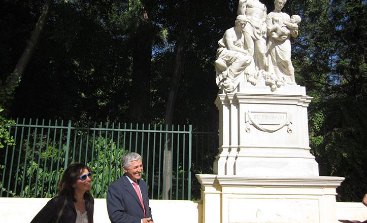 Restaurados tres conjuntos escultóricos de la Glorieta de Covadonga