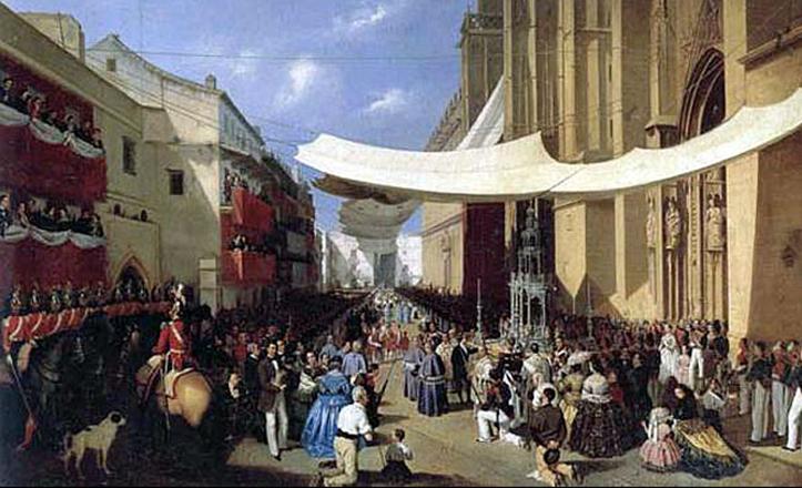 Populosa jornada de Corpus Christi, la plasmada por Manuel Cabral Aguado Bejarano en este cuadro