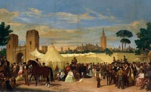 «La Feria de Sevilla», aún en el Prado de San Sebastián, en los expertos trazos de Domínguez Bécquer