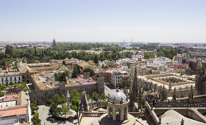 La panorámica sur es la más verde y monumental, con pabellones de la Exposición del 29 inmersos en unos jardines que se entremezclan