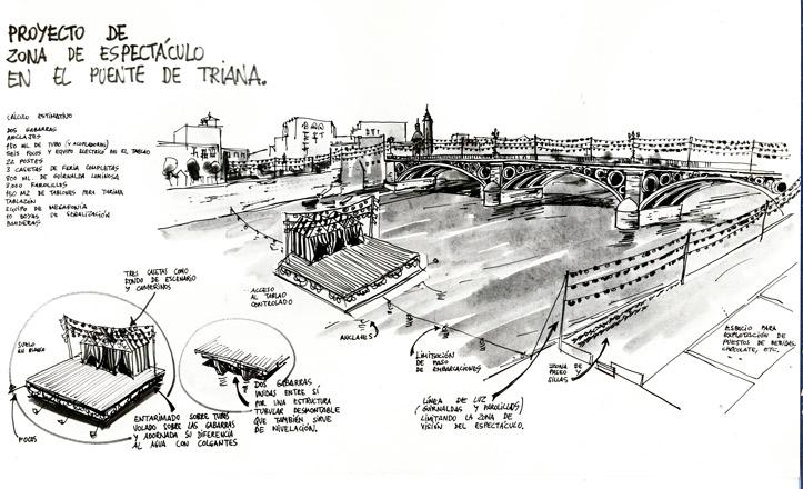 Proyecto de zona de espectáculo flotante en el río