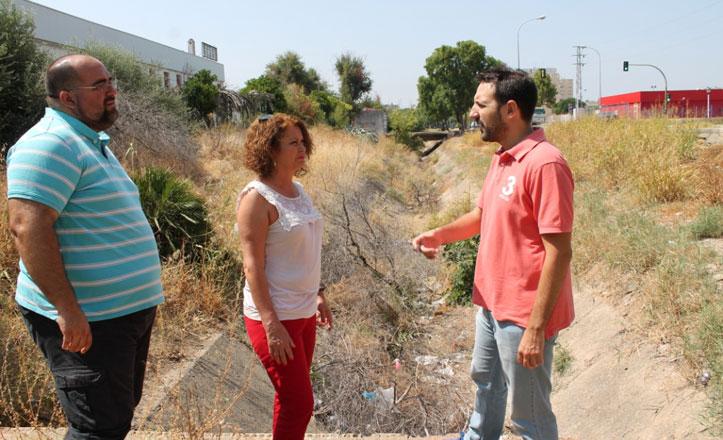 El PSOE denuncia la «falta de limpieza» del canal del Valle en Alcosa