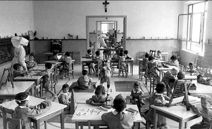 Una de las «aulas» de la Casa Cuna, en una imagen fechada en torno a 1957