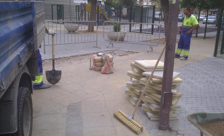 Obras de repavimentación en la calle mayo
