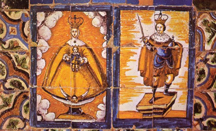 La Virgen de los Reyes, junto a San Fernando, en el zócalo del claustro principal del convento de San Leandro