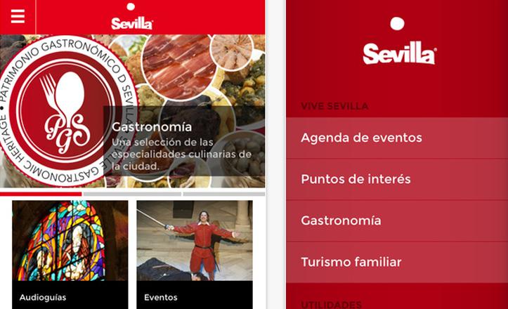 Menú de la aplicación «Visita Sevilla»