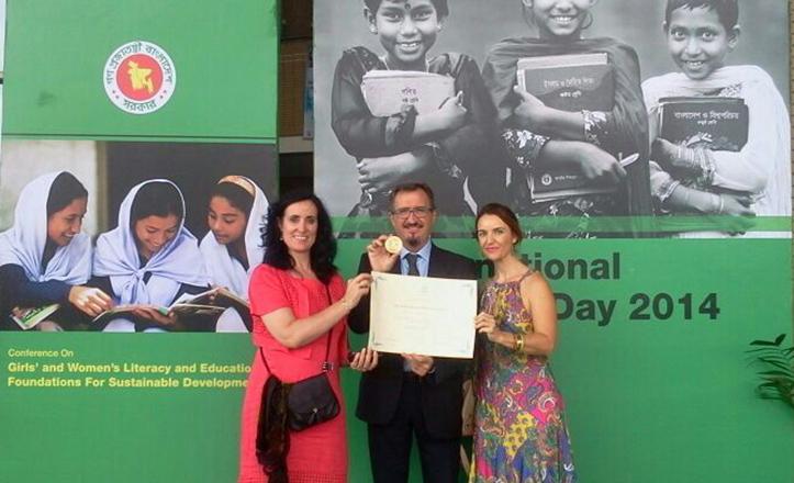 Ana García junto a la representantedel Ministerio de Educación, Mª Jesús del Río, y de la Consejería de Educación,  Francisco Castillo