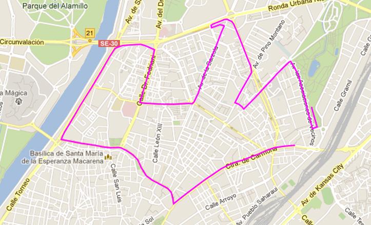 Itinerario de la Carrera Popular que tiene como arranque la Carretera de Carmona y el Parque de Miraflores como meta