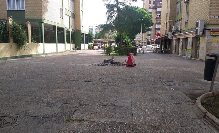 Lugar que ocupaba la fuente de la calle Cañadul, en Santa Aurelia