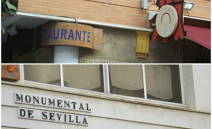 Imágenes del restaurante y la calle La Monumental