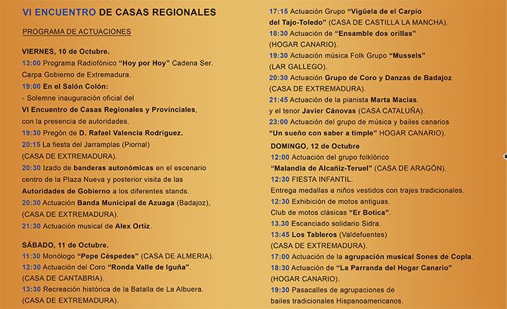 Programa del VI Encuentro de Casas Regionales en Sevilla, que tendrá lugar entre los días 10 y 12 de octubre